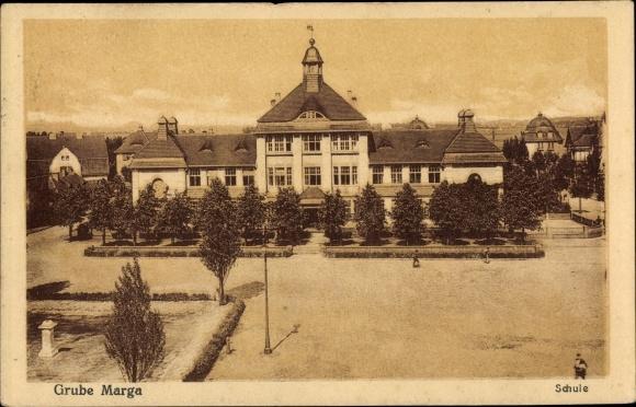 Ak Brieske Senftenberg in der Niederlausitz, Grube Marga, Schule