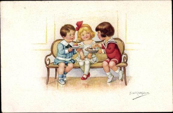 Künstler Ak Kaskeline, F., Kinder, Kuchen, Novitas 226