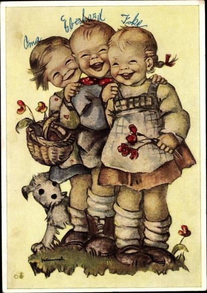 Künstler Ak Hummel, Berta, Lach mit, drei lachende Kinder, Hund, 5918