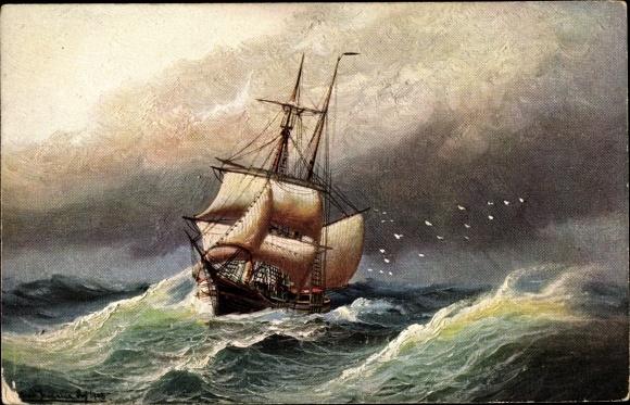 Künstler Ak Segelschiff im Sturm auf dem Meer