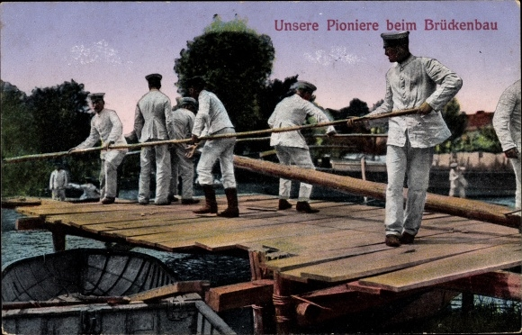 Ak Pioniere beim Brückenbau, Ruderboot