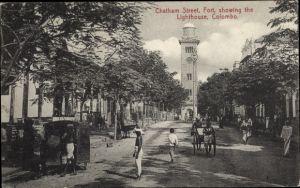 Ak Colombo Ceylon Sri Lanka, Chatham Street, Fort, showing the Lighthouse