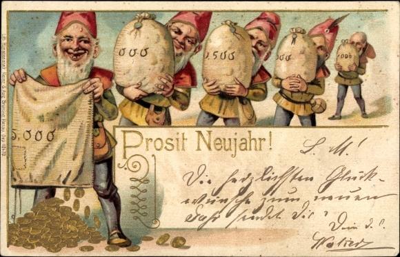 Präge Gold Litho Glückwunsch Neujahr, Zwerge, Geldsäcke, Goldmünzen