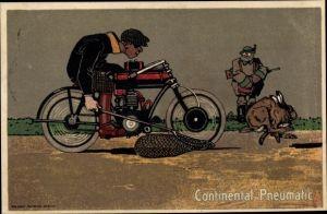 Ak Motorradfahrer, Jagd auf Hase, Continental Pneumatic Reifen Werbung, Fangnetz, Jäger