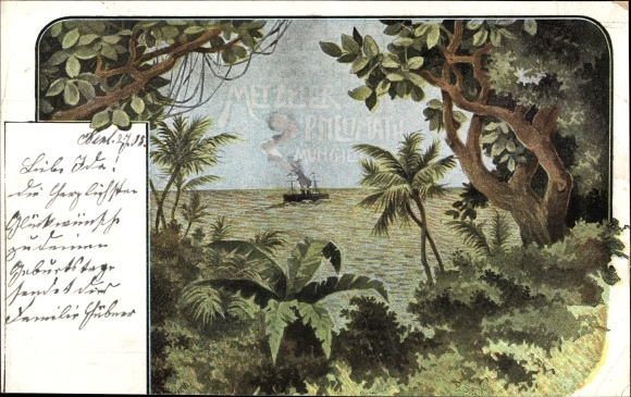 Ak Durchblick aus dem Dschungel, Dampfer m. Kautschuk auf hoher See, Metzeler Pneumatic Werbung
