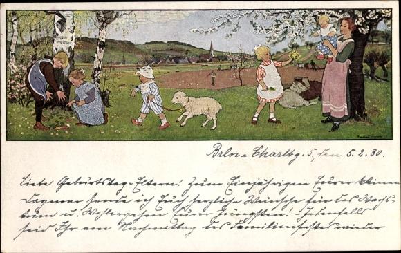 Künstler Ak Caspari, Gertrud, Frühlingsluft, Kinder auf einer Wiese, Lamm