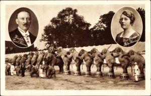 Ak Zirkus Krone, Direktor Carl Krone, Frau Ida Krone, Elefanten
