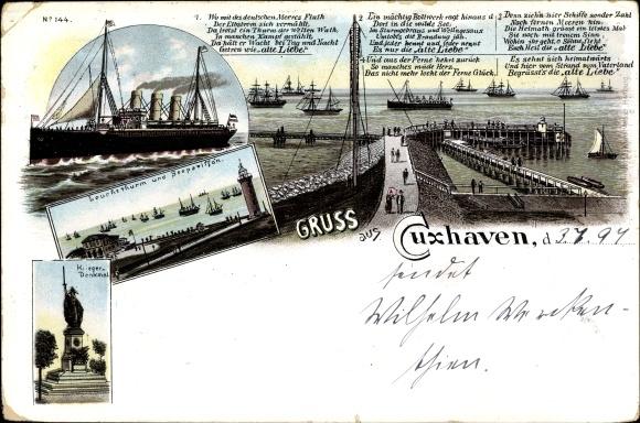 Litho Cuxhaven in Niedersachsen, Alte Liebe, Leuchtturm, Dampfer, Kriegerdenkmal
