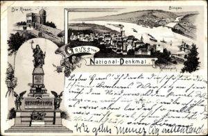 Litho Rüdesheim am Rhein Hessen, Nationaldenkmal, Die Rossel, Bingen