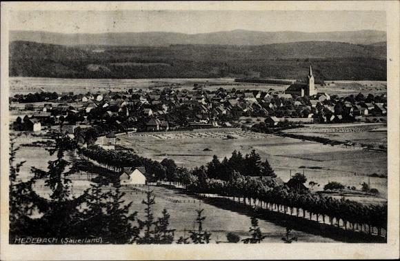 Ak Medebach im Hochsauerlandkreis, Teilansicht vom Ort mit Kirche, Felder, Allee, Bergkette