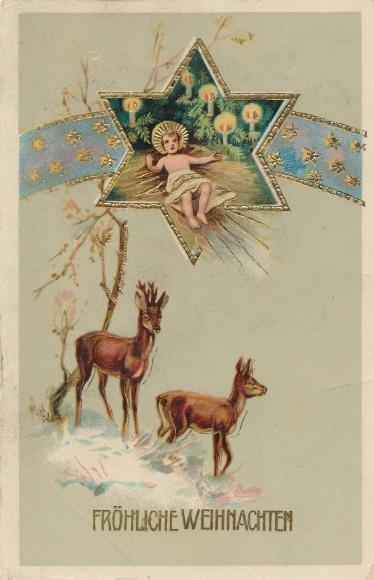 Weihnachtsstern Für Tannenbaum.Präge Gold Litho Frohe Weihnachten Jesuskind Weihnachtsstern Rehe Tannenbaum
