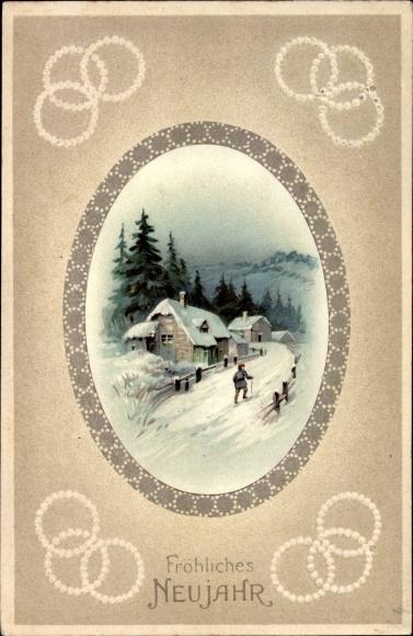 Präge Passepartout Ak Glückwunsch Neujahr, Wanderer, verschneites Dorf, Ringe