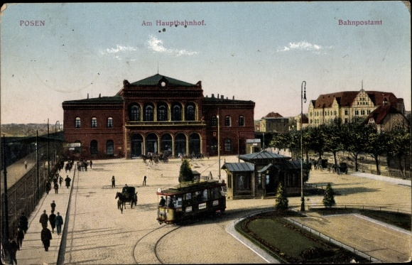 Ak Poznań Posen, Hauptbahnhof, Bahnpostamt
