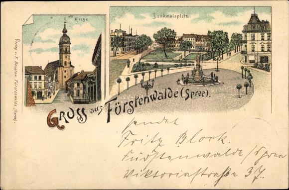 Litho Fürstenwalde an der Spree, Kirche, Denkmalsplatz