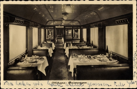 Ak Deutsche Reichsbahn, Mitropa Speisewagen, Innenansicht
