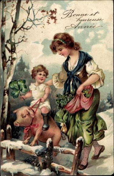Präge Ak Glückwunsch Neujahr, Bonne et heureuse Année, Kind auf Schwein, Kleeblätter
