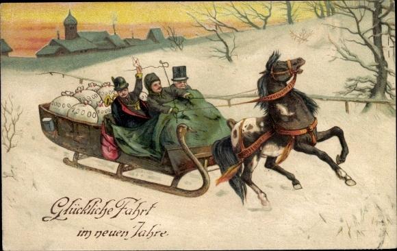 Präge Ak Glückwunsch Neujahr, Pferdeschlitten, Geldsäcke