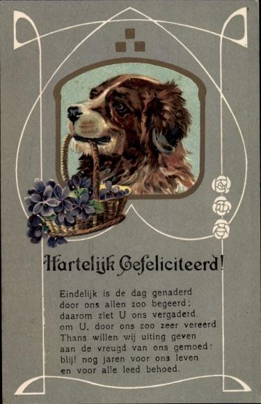 Präge Passepartout Ak Glückwunsch, Hartelijk Gefeliciteerd, Hund, Blumenkorb