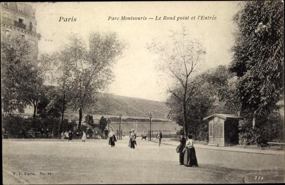 Ak Paris, Parc Montsouris, Le Rond point et l'Entrée