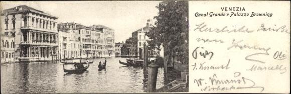 Mini Ak Venezia Venedig Veneto, Canal Grande e Palazzo Browning, Gondeln