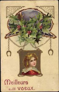 Präge Ak Frohe Weihnachten, Meilleurs Voeux, Mädchen, Stechpalmenblätter
