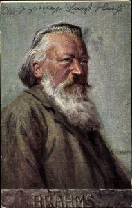 Künstler Ak Johannes Brahms, Deutscher Komponist, Portrait