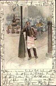 Künstler Ak London, The Newsboy, Zeitungsverkäufer