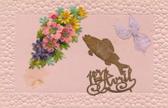 Präge Passepartout Stoff Ak 1. April, Fisch, Blumen, Schleife