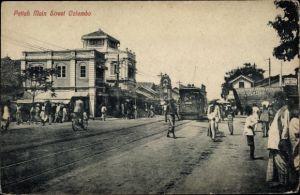 Ak Pettah Colombo Ceylon Sri Lanka, Main Street, tramway