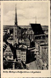 Ak Nysa Neisse Schlesien, Rathausturm, St. Jakobus