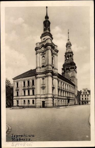 Ak Szprotawa Sprottau Schlesien, Ratusz, Rathaus