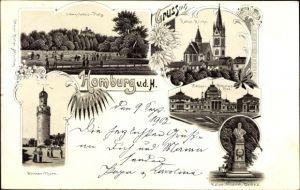 Litho Bad Homburg vor der Höhe Hessen, Weißer Turm, Lawn Tennis Platz, Kirche, Denkmal