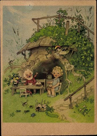 Künstler Ak Baumgarten, Fritz, Zwerge, Vogel