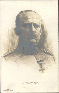 Künstler Ak General Erich Friedrich Wilhelm Ludendorff, Portrait