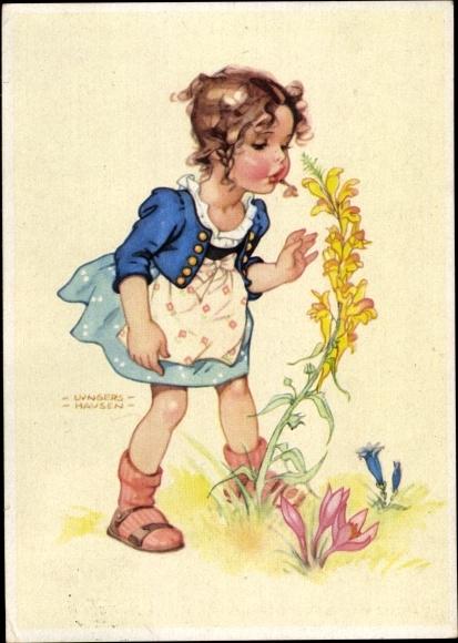 Künstler Ak Wende Lungershausen, Ilse, Mädchen, Blumen