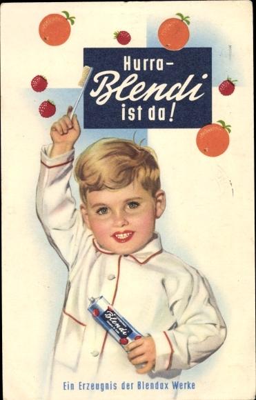 Ak Hurra Blendi ist da, Kind mit Zahnbürste und Zahnpasta, Reklame