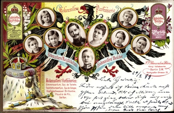 Litho Deutsches Kaiserhaus unter Wilhelm II., Kaiserin Auguste Viktoria, Hohenzollern Parfümerie