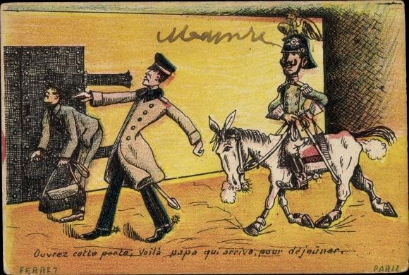 Künstler Ak Ferret, Ouvrez cette porte, Kaiser Wilhelm II., Karikatur