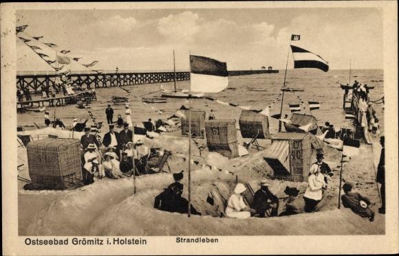 Ak Grömitz in Ostholstein, Strandleben, Sandburgen, Strandkörbe, Seebrücke