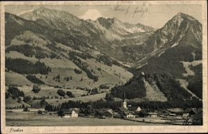 Ak Fischen im Allgäu in Schwaben, Panorama vom Ort u. Alpen