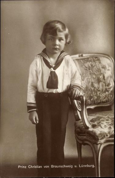 Ak Prinz Christian von Braunschweig und Lüneburg, Portrait in Matrosenanzug
