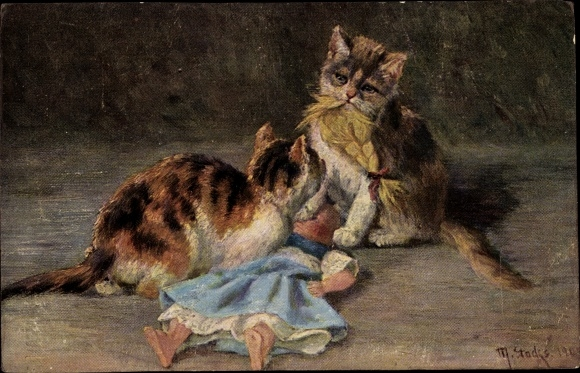 Künstler Ak Stocks, M., Zwei Katzen spielen mit einer Puppe
