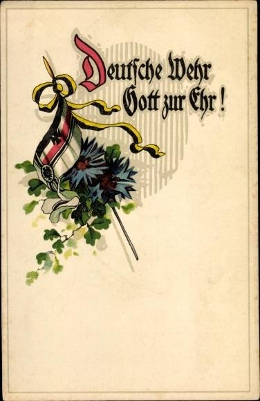 Litho Deutsche Wehr Gott zur Ehr, Fahne, Kornblumen, Patriotik Kaiserreich