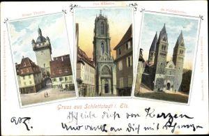Ak Sélestat Schlettstadt Elsass Bas Rhin, Neuer Turm, Münster, St. Fideskirche
