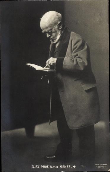 Ak Adolph Friedrich Erdmann von Menzel, Portrait m. Buch