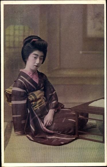 Ak Junge Japanerin im Kimono, Portrait