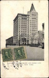 Ak New York City, Postal Telegraph and home life building, exterior view