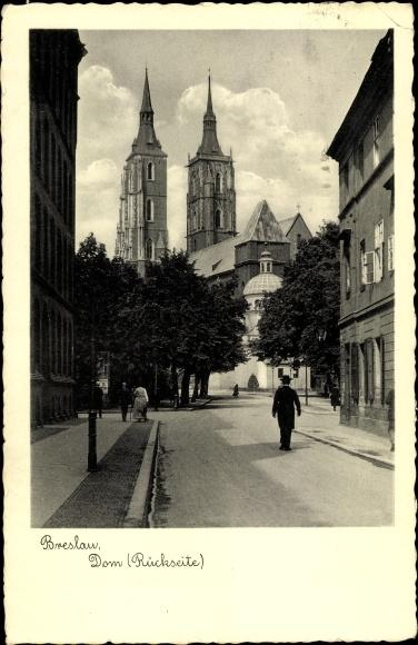 Ak Wrocław Breslau Schlesien, Dom, Rückseite, Straßenpartie
