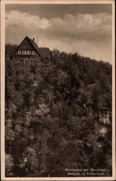Ak Wałbrzych Waldenburg Schlesien, Stadtpark, Schillerbaude