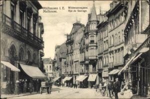 Ak Mulhouse Mülhausen Elsass Haut Rhin, Wildemannsgasse, Geschäfte, Passanten